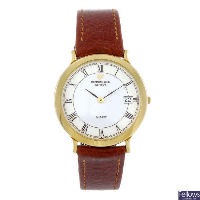 RAYMOND WEIL - a gentleman's gold plated wrist watch.