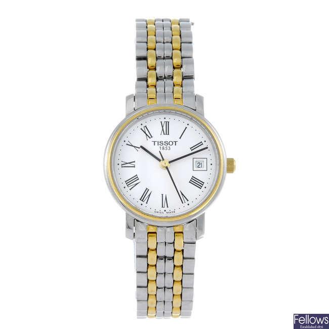 TISSOT - a lady's bi-colour bracelet watch with an Omega bracelet watch.