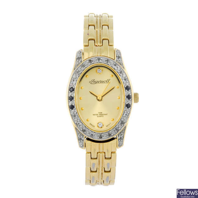 INGERSOLL - a lady's gold plated bracelet watch and three lady's bracelet watches.