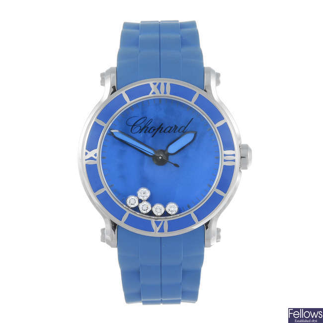 CHOPARD - a limited edition lady's stainless steel Happy Sport Xl Blue Lake wrist watch.