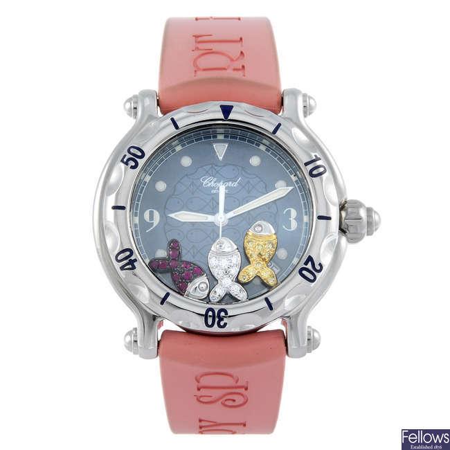 CHOPARD - a lady's stainless steel Happy Sport wrist watch.