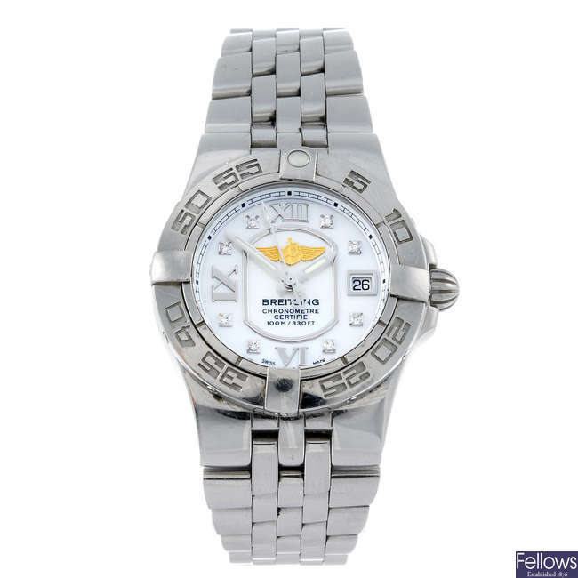 BREITLING - a lady's stainless steel Galactic 30 bracelet watch.