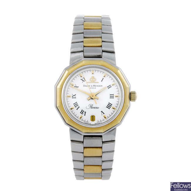 BAUME & MERCIER - a lady's bi-colour Riviera bracelet watch.