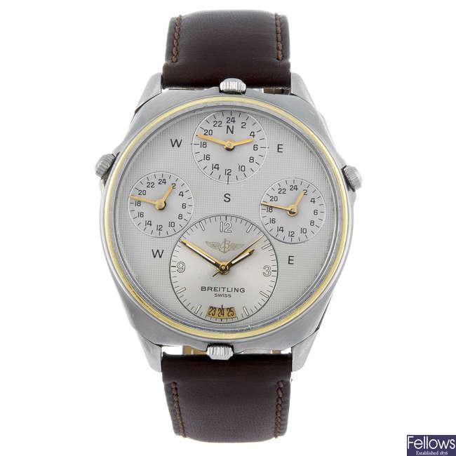 BREITLING - a gentleman's stainless steel World wrist watch.
