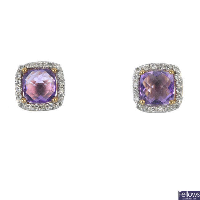 A 9ct gold amethyst and diamond pendant and ear stud set.