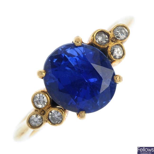 A Burmese sapphire and diamond dress ring.
