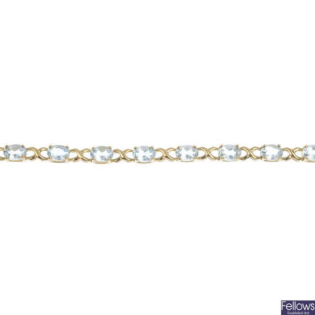 A 9ct gold aquamarine bracelet.