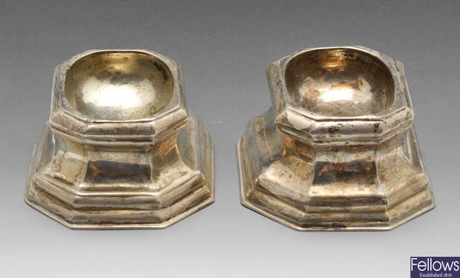 A pair of George II silver trencher salts & a small funnel.