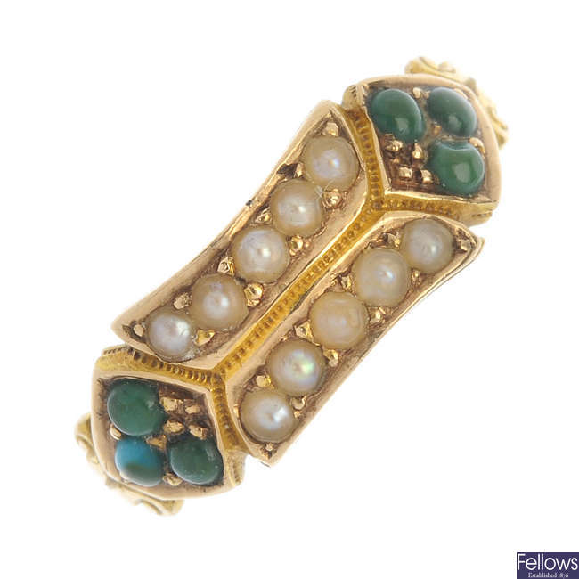 A mid Victorian 15ct gold split pearl and turquoise ring.