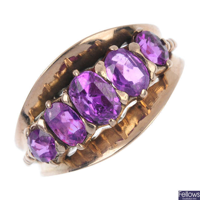 A mid 20th century gold sapphire five-stone ring.