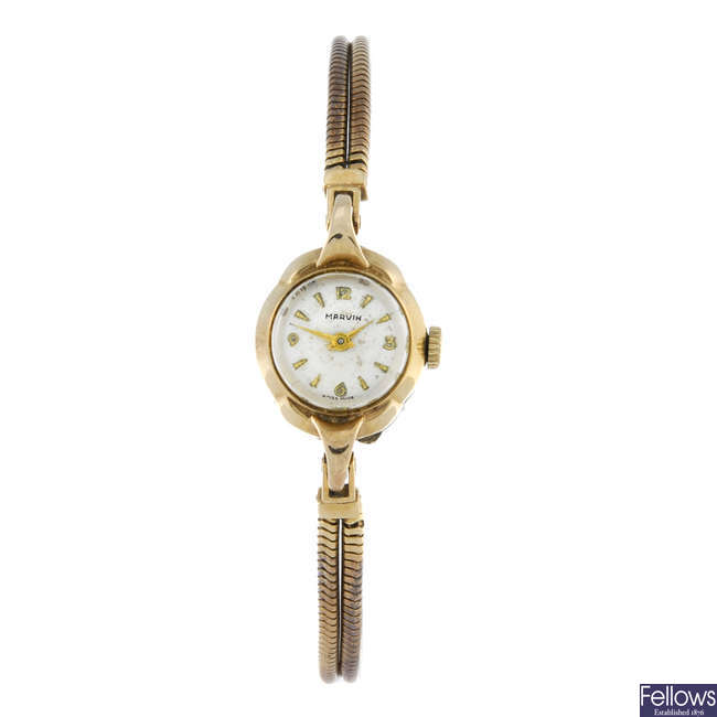 MARVIN - a lady's 9ct yellow gold bracelet watch.