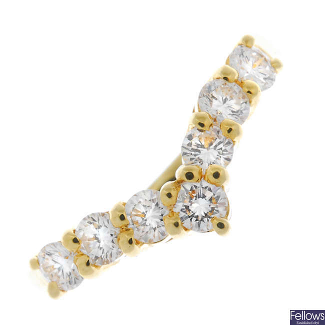 An 18ct gold diamond chevron ring.