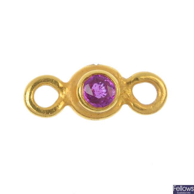A diamond and sapphire link.