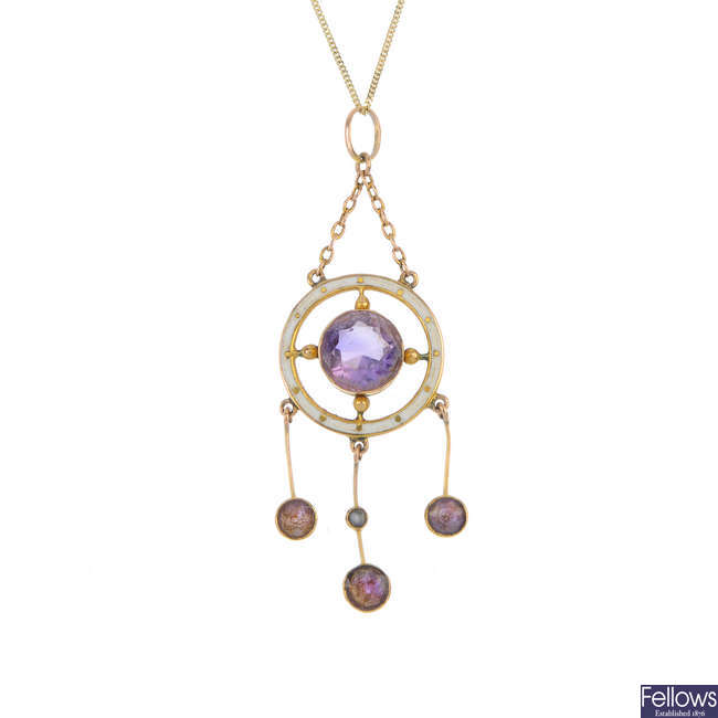 An early 20th century 9ct gold amethyst, split pearl and enamel pendant.