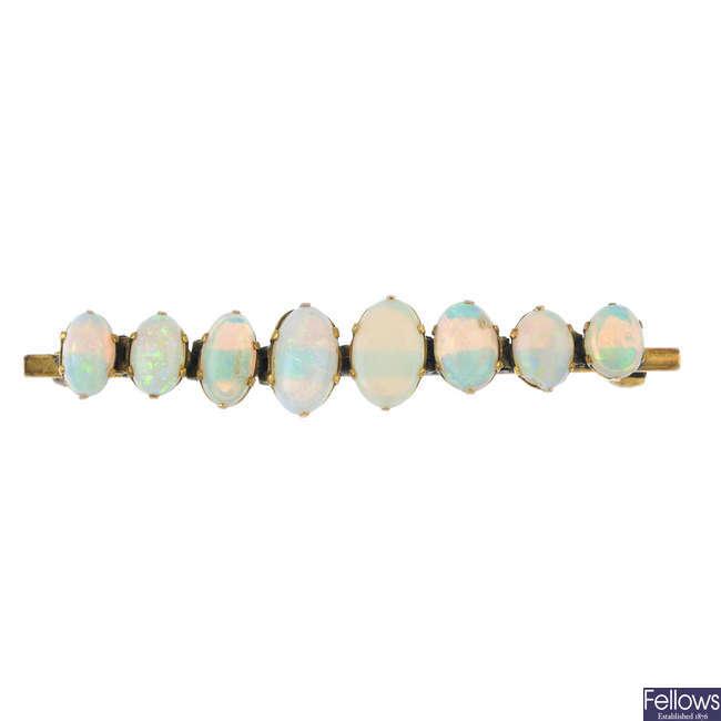 An opal bar brooch.