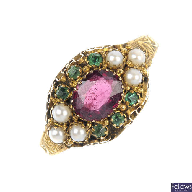 A late Victorian 15ct gold garnet, emerald and pearl ring.