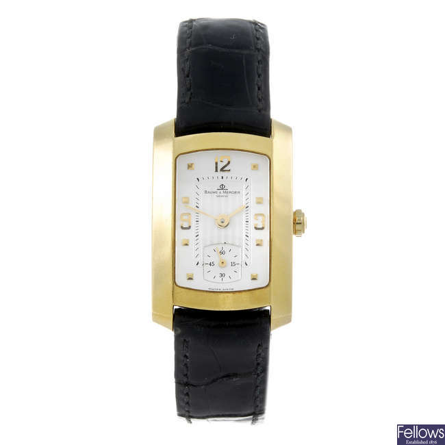 BAUME & MERCIER - a lady?s yellow metal wrist watch.