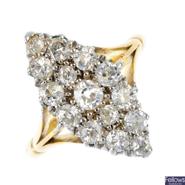 A mid 20th century 18ct gold diamond cluster ring.