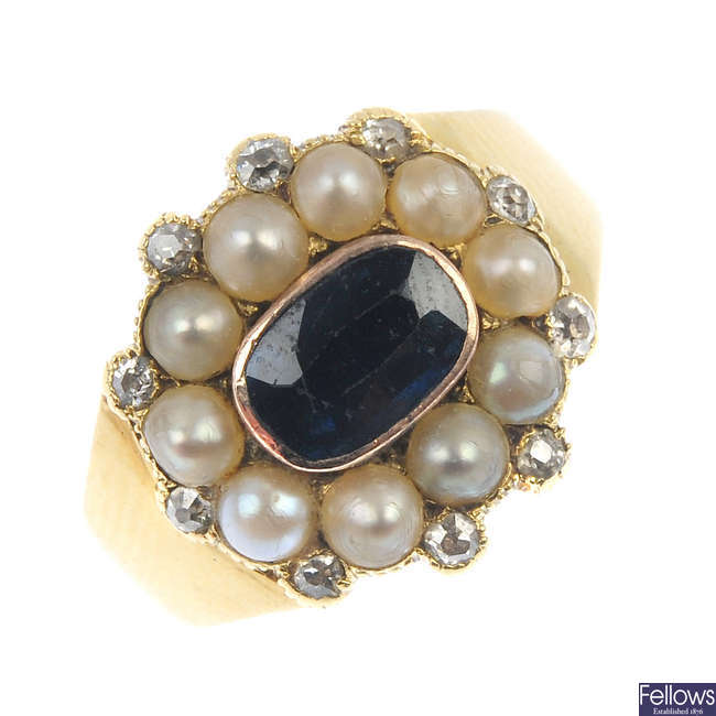 An early Victorian gold, sapphire, split pearl and diamond memorial ring.