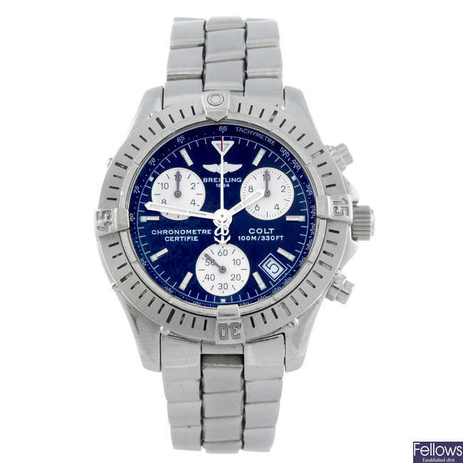 BREITLING - a gentleman's stainless steel Aeromarine Chrono Colt chronograph bracelet watch.