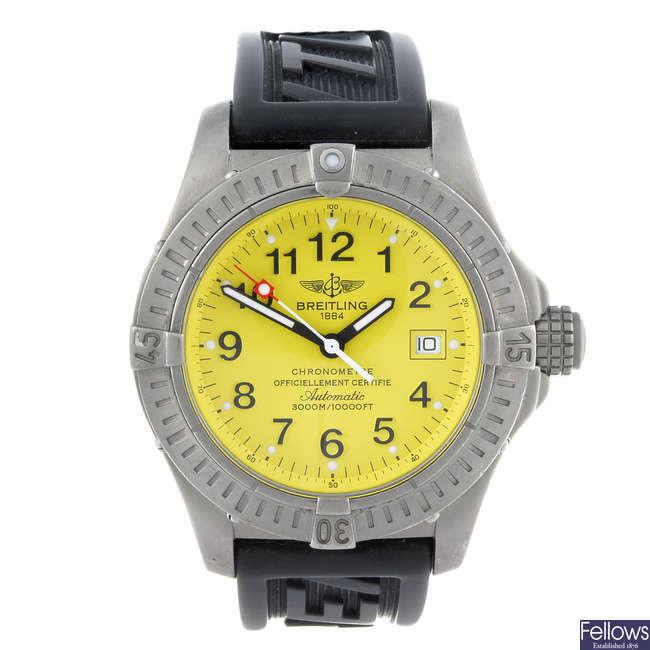 BREITLING - a gentleman?s titanium Avenger Seawolf wrist watch.