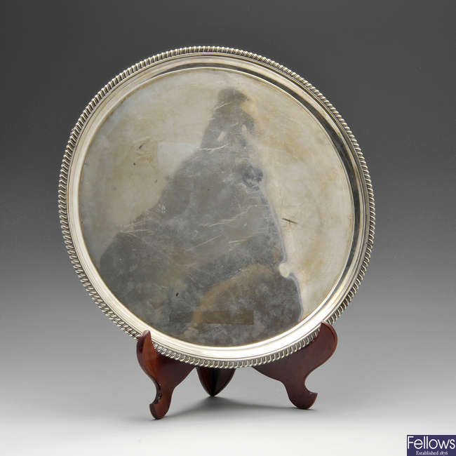 A George III silver salver with Military interest.