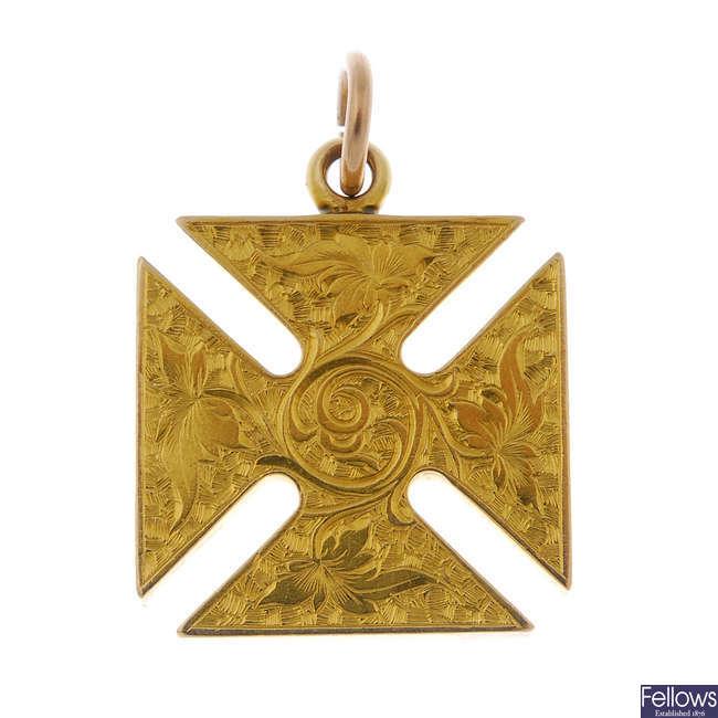 A late 19th century 18ct gold Maltese cross pendant.