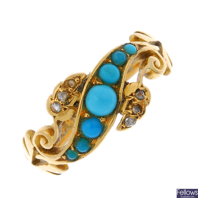 A late Victorian 18ct gold turquoise and diamond dress ring.