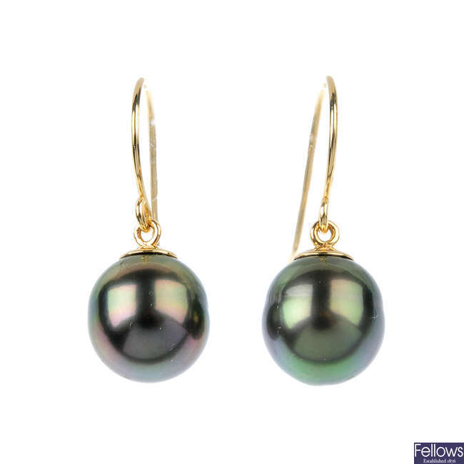 A pair of 18ct gold cultured pearl ear pendants.
