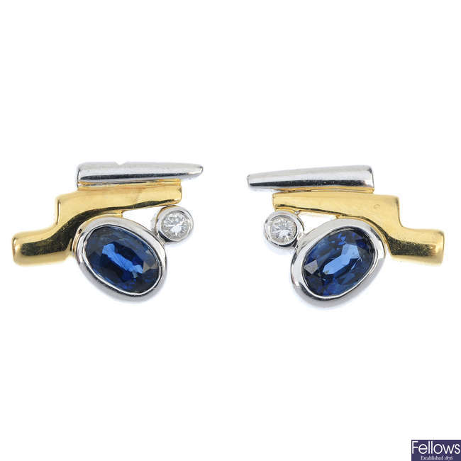 A pair of sapphire and diamond ear-studs.