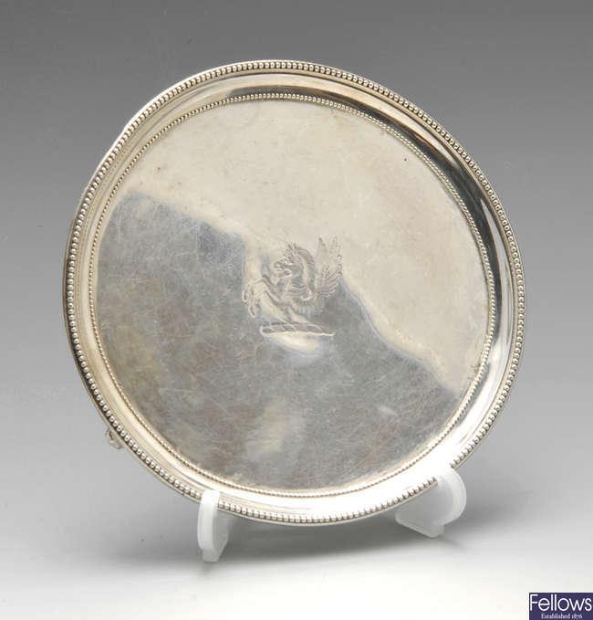 An early George III silver waiter.
