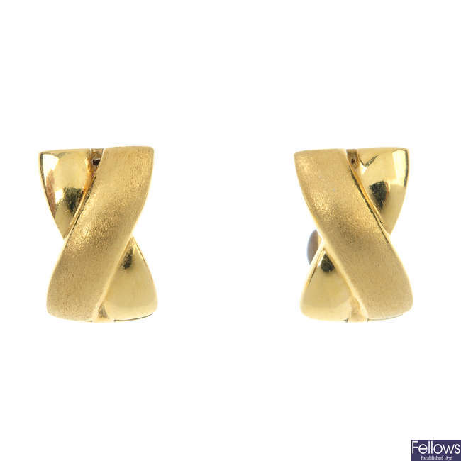 A pair of 18ct gold cross ear hoops.