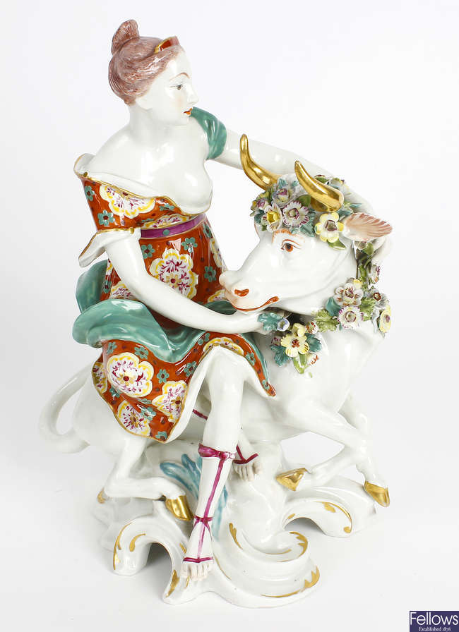 A 19th century Sampson porcelain figure of Europa and The Bull.