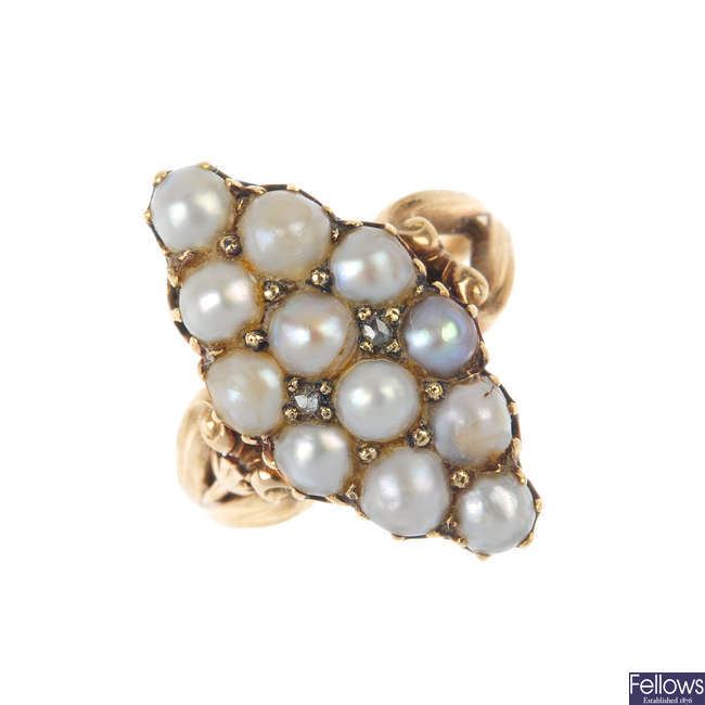 A late 19th century gold, split pearl and diamond ring.