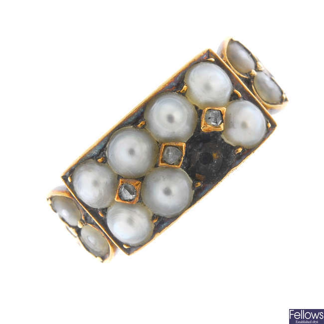 A late 19th century gold and split pearl ring.