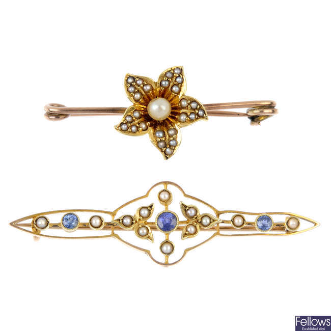 Two early 20th century gold split pearl and gem-set bar brooches.