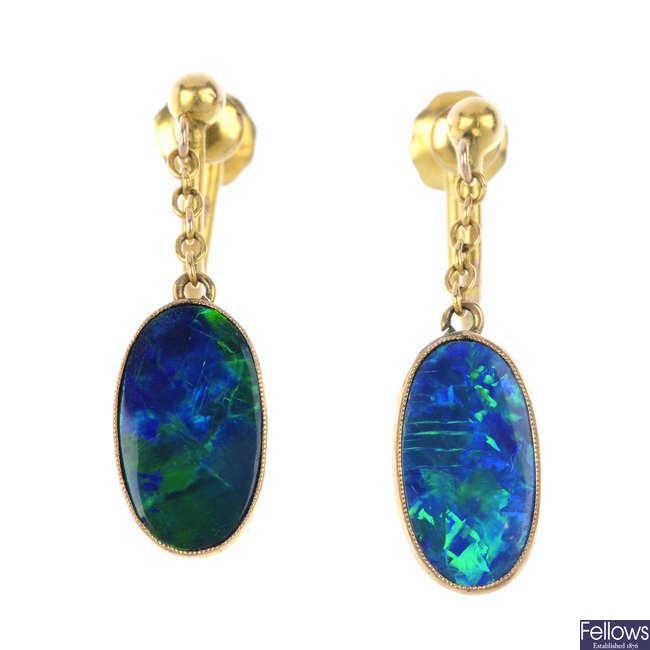 A pair of opal doublet ear pendants.
