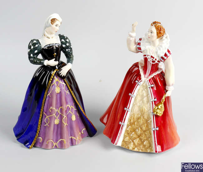Two Royal Doulton Queens of the Realm figures.
