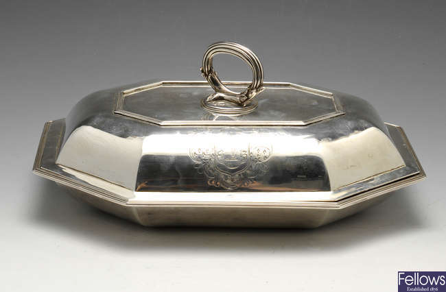 A George III silver entree dish and cover.