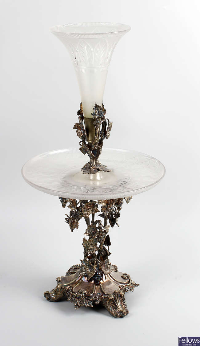 A silver plated and glass epergne.
