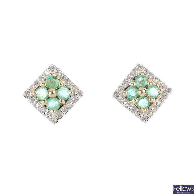 A pair of 9ct gold emerald and diamond ear studs.