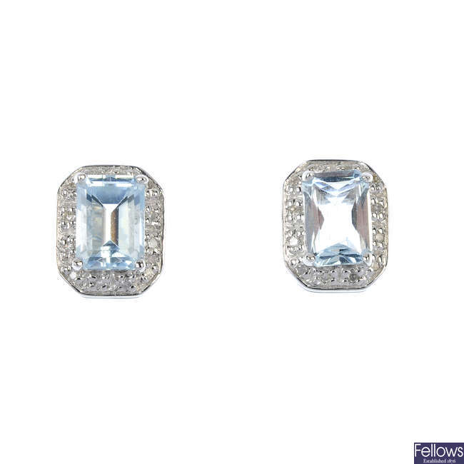 A pair of 9ct gold aquamarine and diamond cluster ear studs.