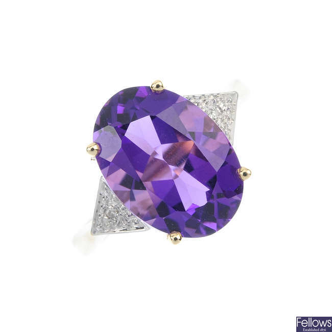 A 9ct gold amethyst and diamond ring.