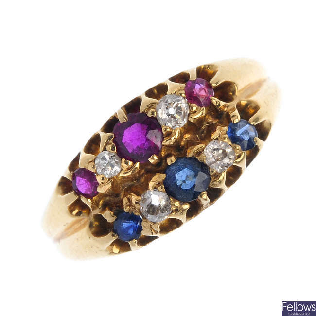 An Edwardian 18ct gold ruby, sapphire and diamond ring.