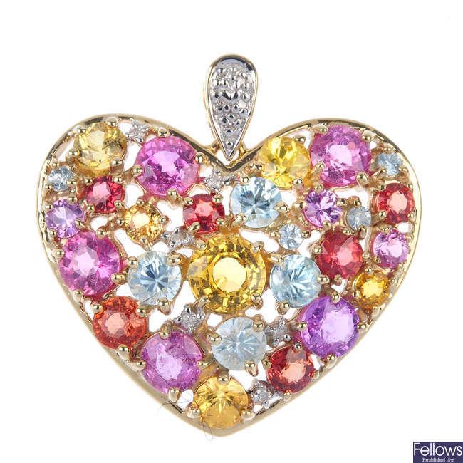 A 9ct gold multi-gem heart pendant.