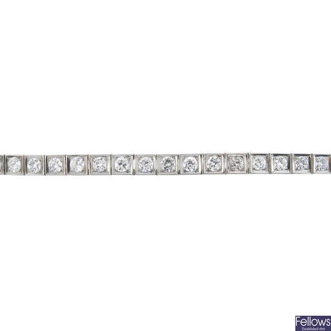 A diamond line bracelet.