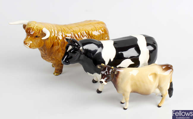 Five Beswick studies of cows and bulls.