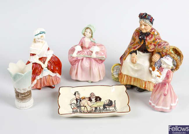 Four Royal Doulton figures, etc.