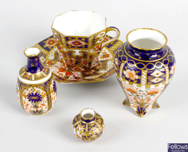 A Royal Crown Derby vase, etc.