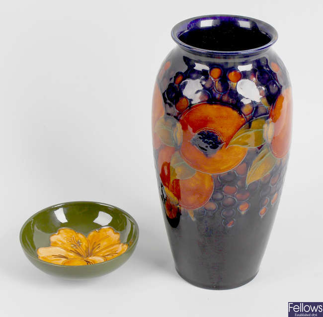 A Moorcroft pottery vase, plus another dish.